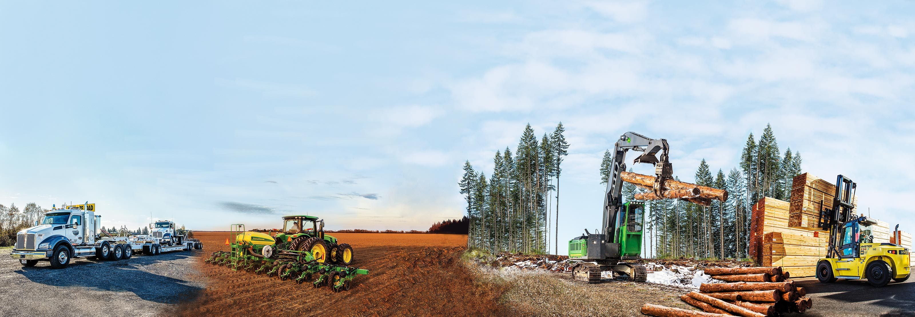 composite image of semi truck, combine in field, logging truck in forest, and forklift lifting lumber