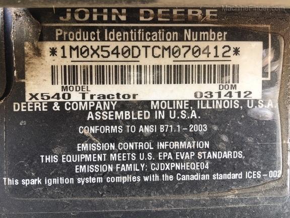 2012 John Deere X540