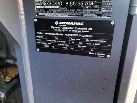 2019 Dynapac CA2500