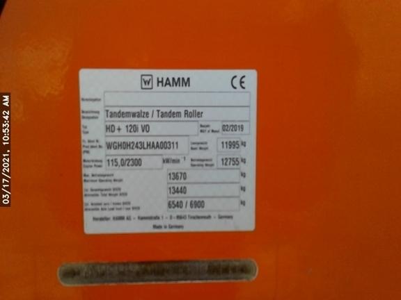 2019 Hamm HD120I